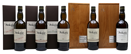 The range of Port Askaig Islay Single Malt Whiskies